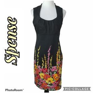 Spense Black Sleeveless Midi Flower Dress Size 10